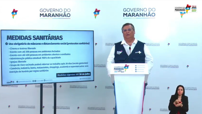 Governador do Maranhão, Flávio Dino (PSB), em coletiva na manhã desta terça-feira (20). (Foto: Reprodução/YouTube)