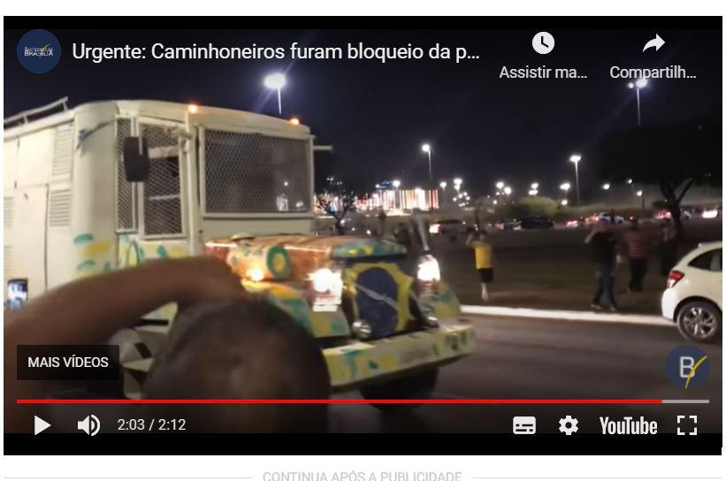 CAMINHONEIRO FURA BLOQUEIO NA ESPLANADA